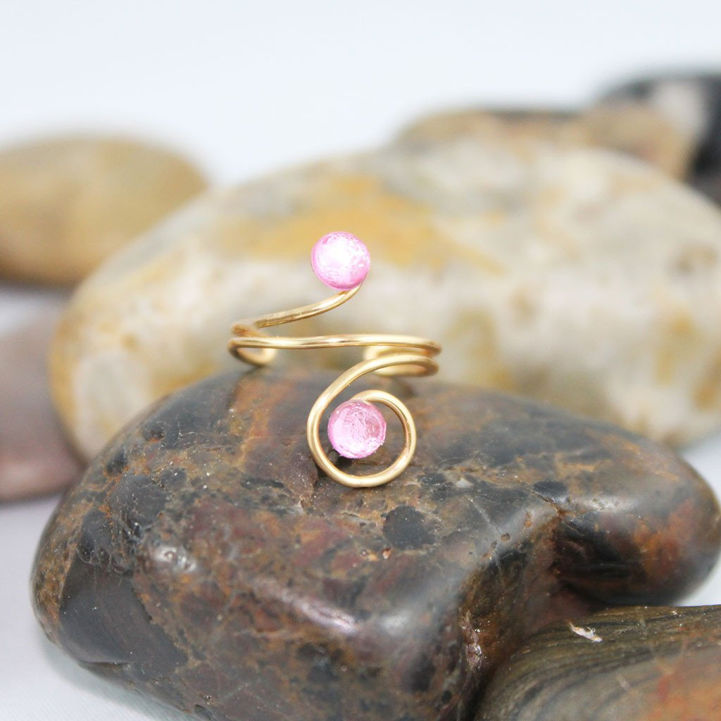 Adjustable Pink Crystal Knuckle Ring - Gothic Grace