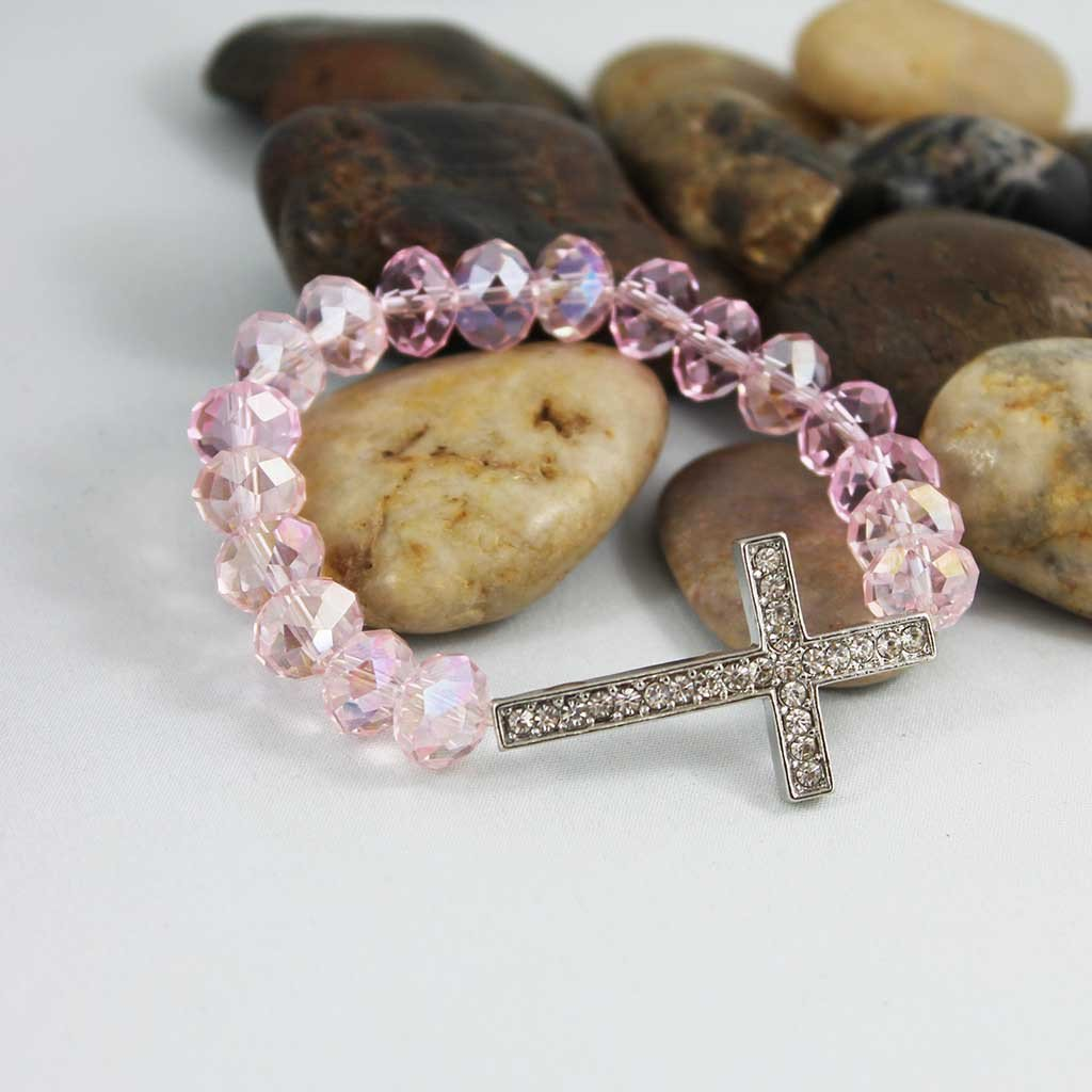 Pink Crystal Beaded Rhinestone Cross Bracelet - Gothic Grace