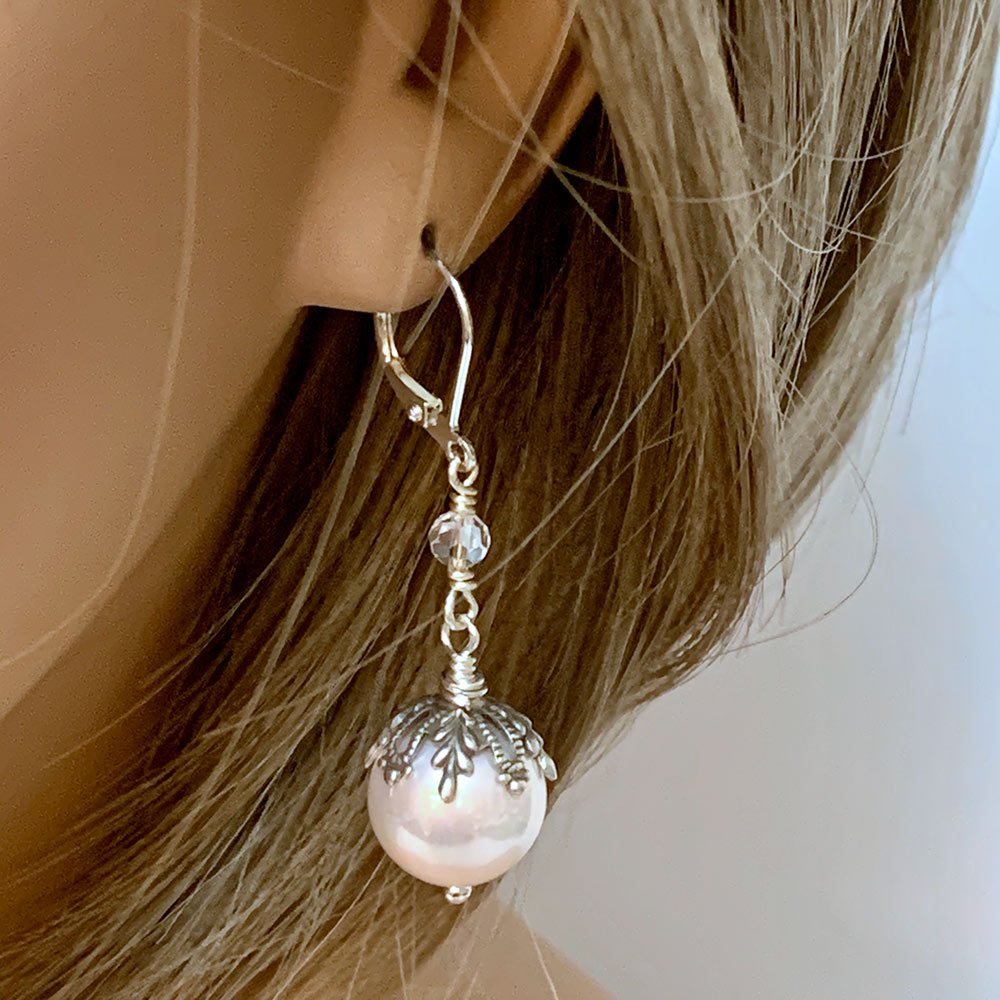 Pink Pearl Victorian Dangle Earrings | Gothic Grace