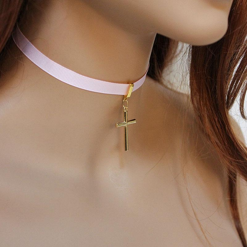 Pink Ribbon Gold Cross Choker Necklace - Gothic Grace