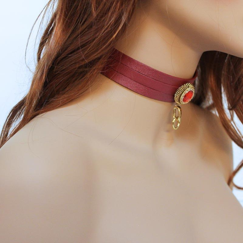 Sexy Red Leather Choker, Anime Inspired - Gothic Grace