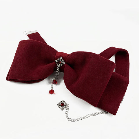 Victorian Red Bow Tie Choker | Gothic Grace