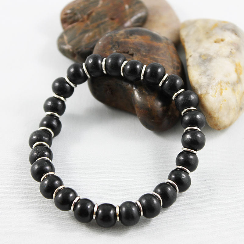 Black Round Wooden Bead Stretch Bracelet - Gothic Grace