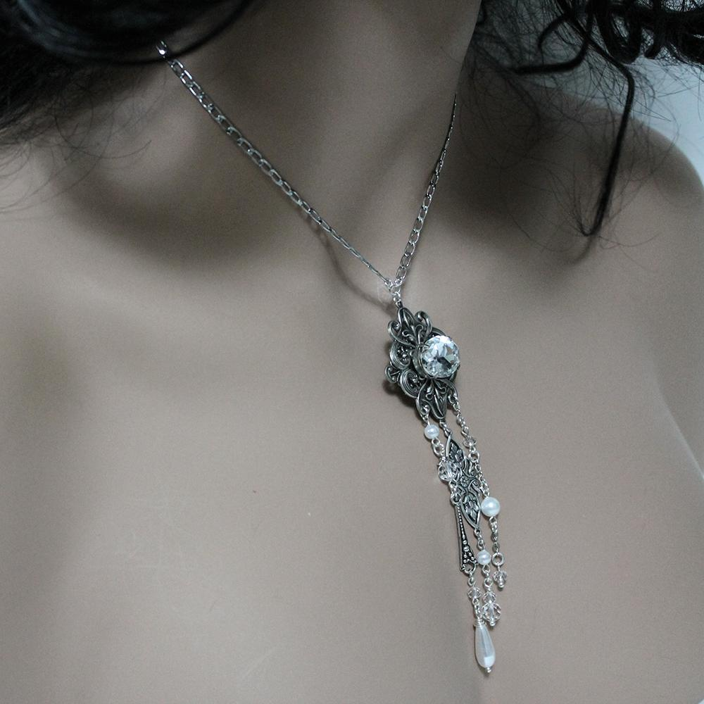 Handmade Victorian Negligee Necklace with Asymmetric Dangles - Gothic Grace