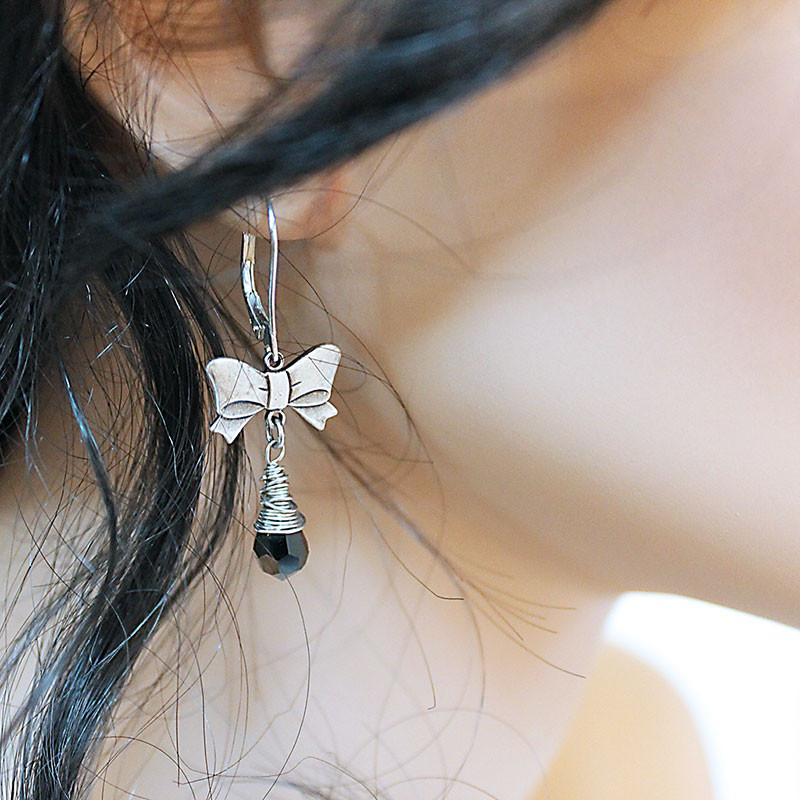 Silver Bow Earrings - Gothic Grace