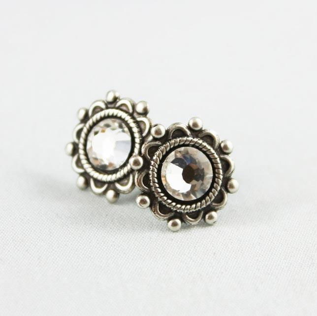 Crystal Oxidized Silver Small Post Earrings - Gothic Grace