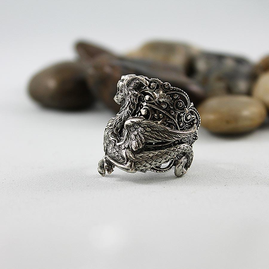 Silver Dragon Ring, Medieval Fantasy, Neo Victorian Gothic Jewelry - Gothic Grace