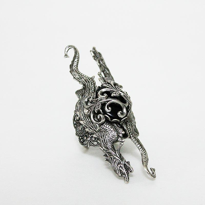 Silver Dragon Statement Ring, Game of Thrones Style Medieval Gothic Ring - Gothic Grace