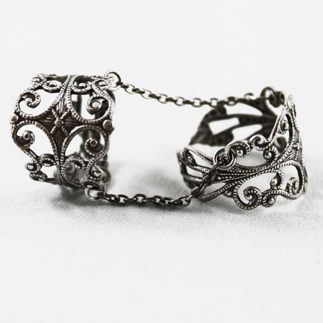 Gothic Double Ring, Adjustable Slave Ring - Gothic Grace