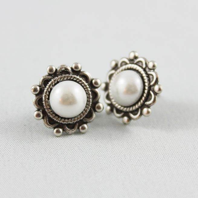 Oxidized Silver Stud Earrings - Gothic Grace