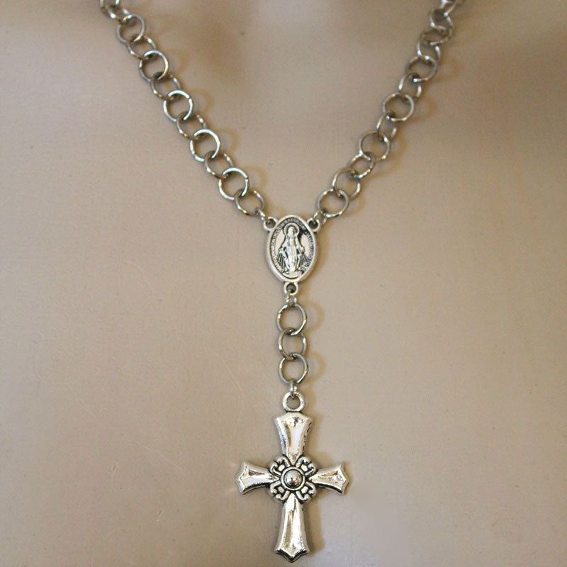 Silver Rosary Cross Necklace - Gothic Grace