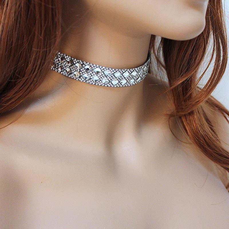 Silver Sparkly Choker Collar - Gothic Grace