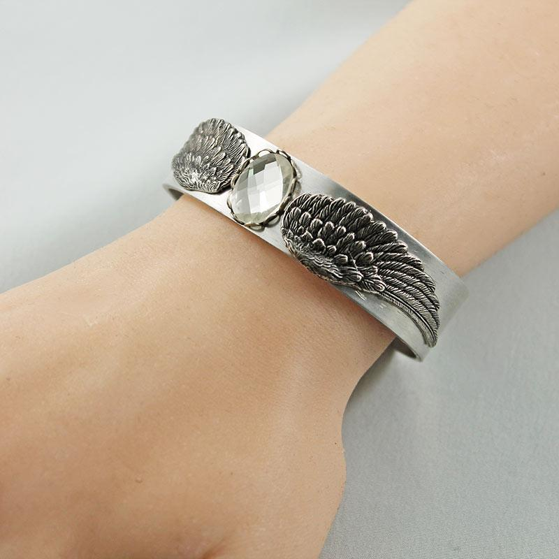 Silver Victorian Bangle Cuff Bracelet - Gothic Grace