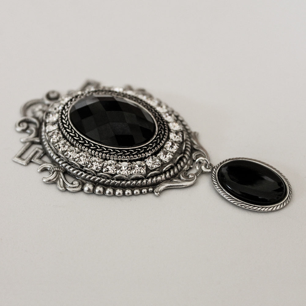 Silver Black Crystal Victorian Cameo Brooch - Gothic Grace