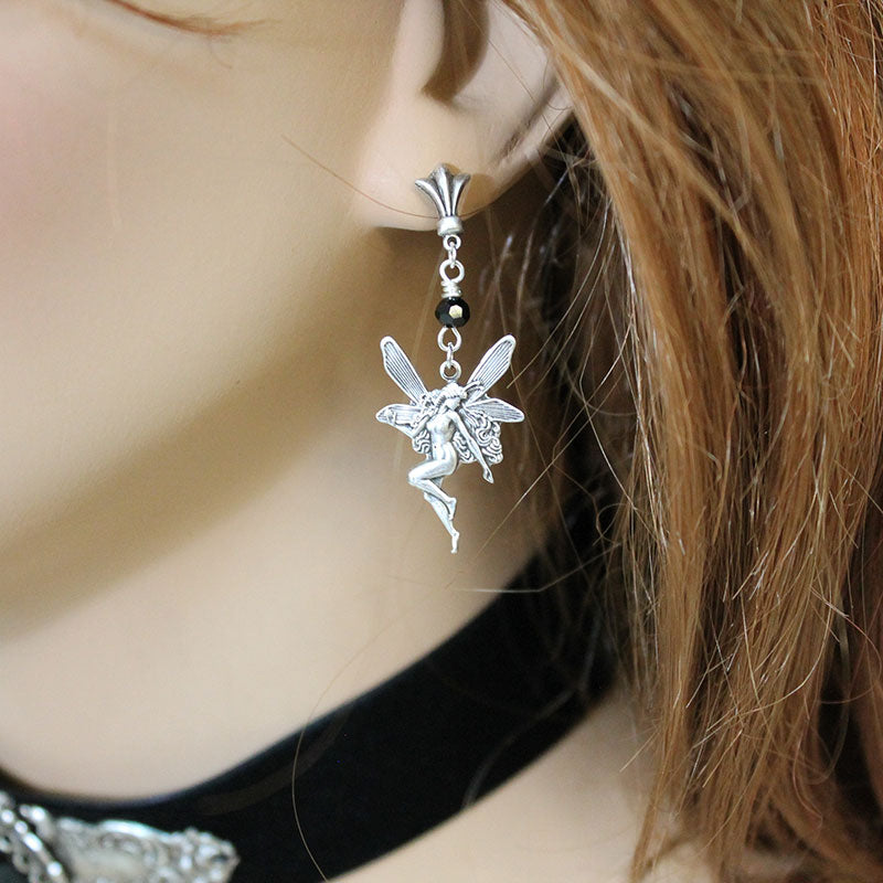 Silver Fairy Earrings - Gothic Grace