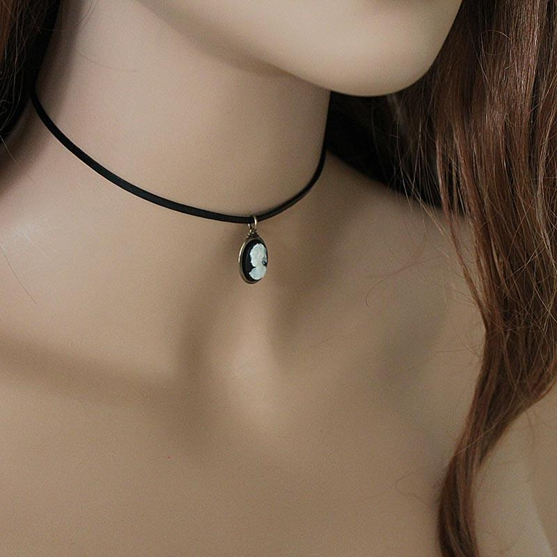 Simple Dainty Black Leather Black Cameo Choker - Gothic Grace