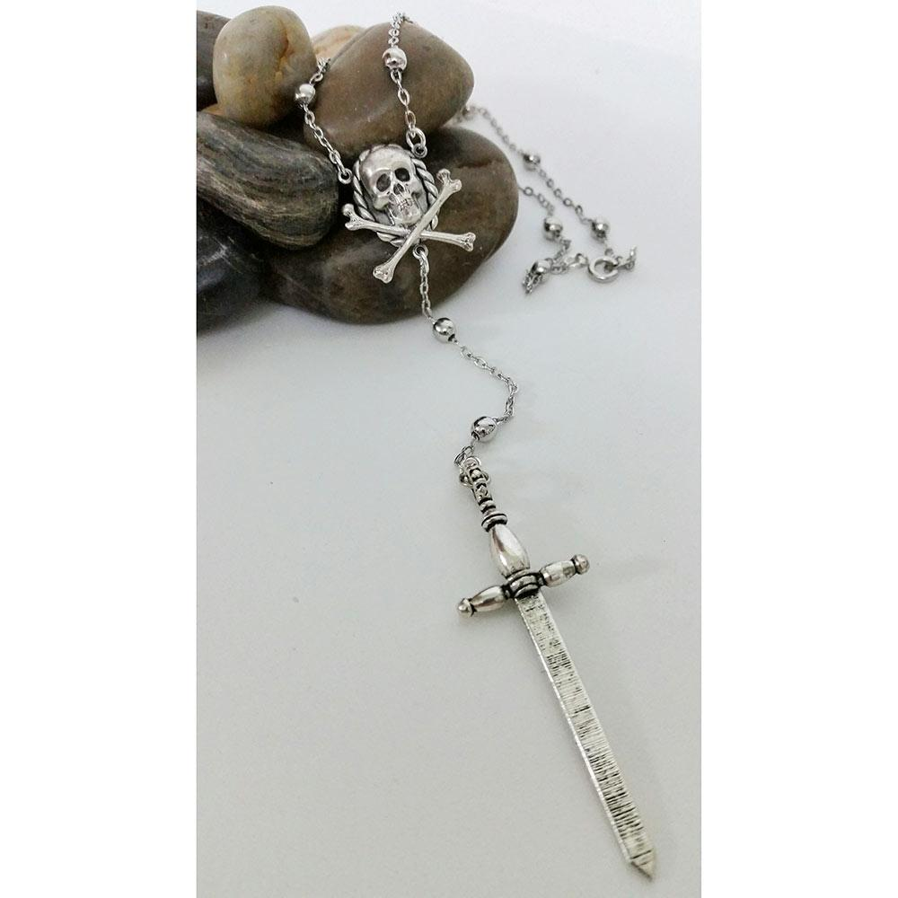 Silver Skull Gothic Necklace - Gothic Grace