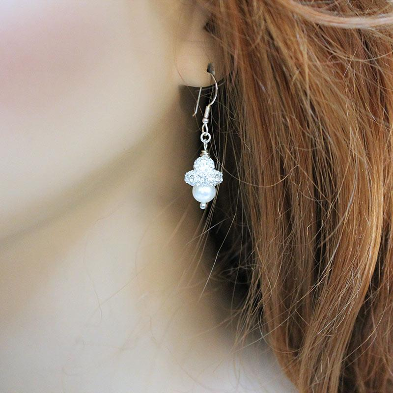 Sparkly Pearl Dangle Earrings - Gothic Grace