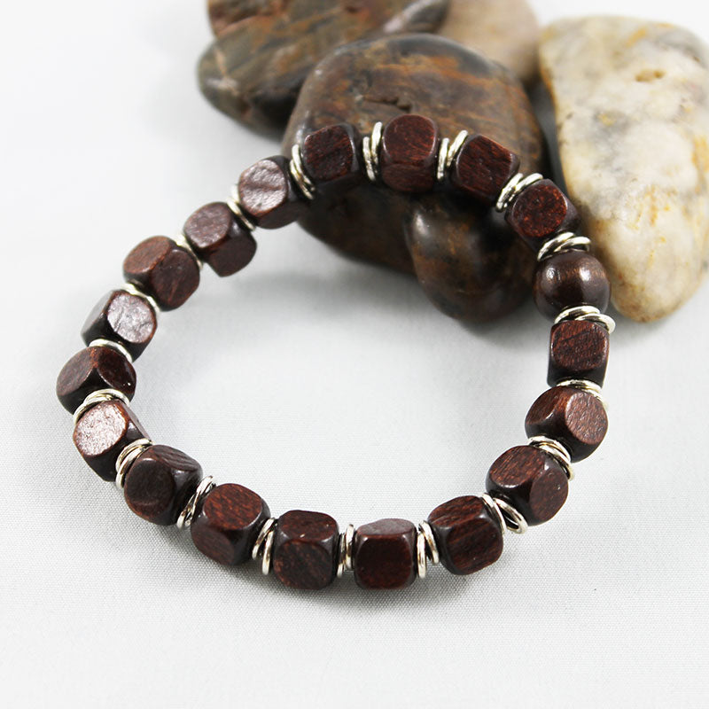 Brown Square Wood Bead Stretch Bracelet - Gothic Grace