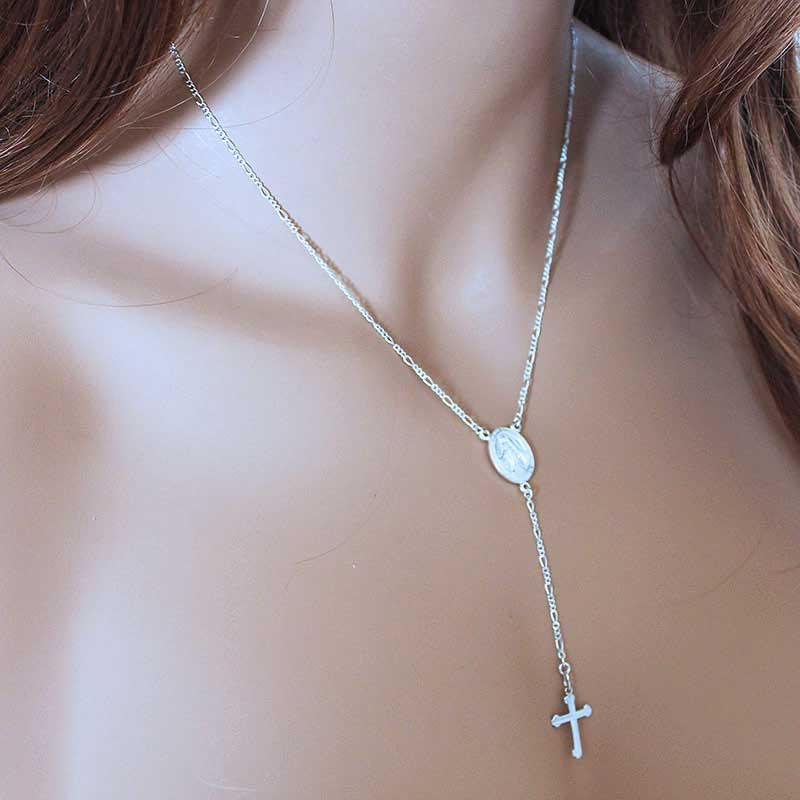 Sterling Silver Cross Y Necklace - Gothic Grace