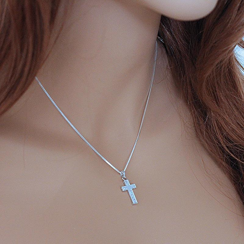 Sparkling Sterling Silver Cross Necklace - Gothic Grace