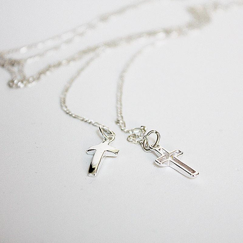 Sterling Silver Double Cross Lariat Necklace - Gothic Grace