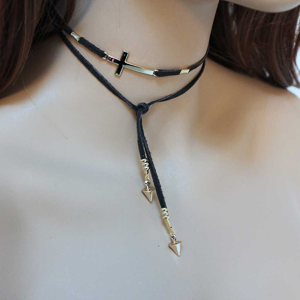 Suede Gold Sideways Cross Lariat - Gothic Grace