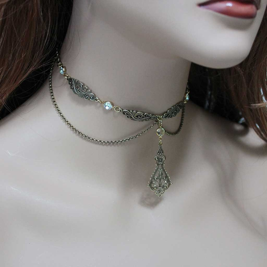 Swarovski Crystal Brass Victorian Choker Necklace - Gothic Grace