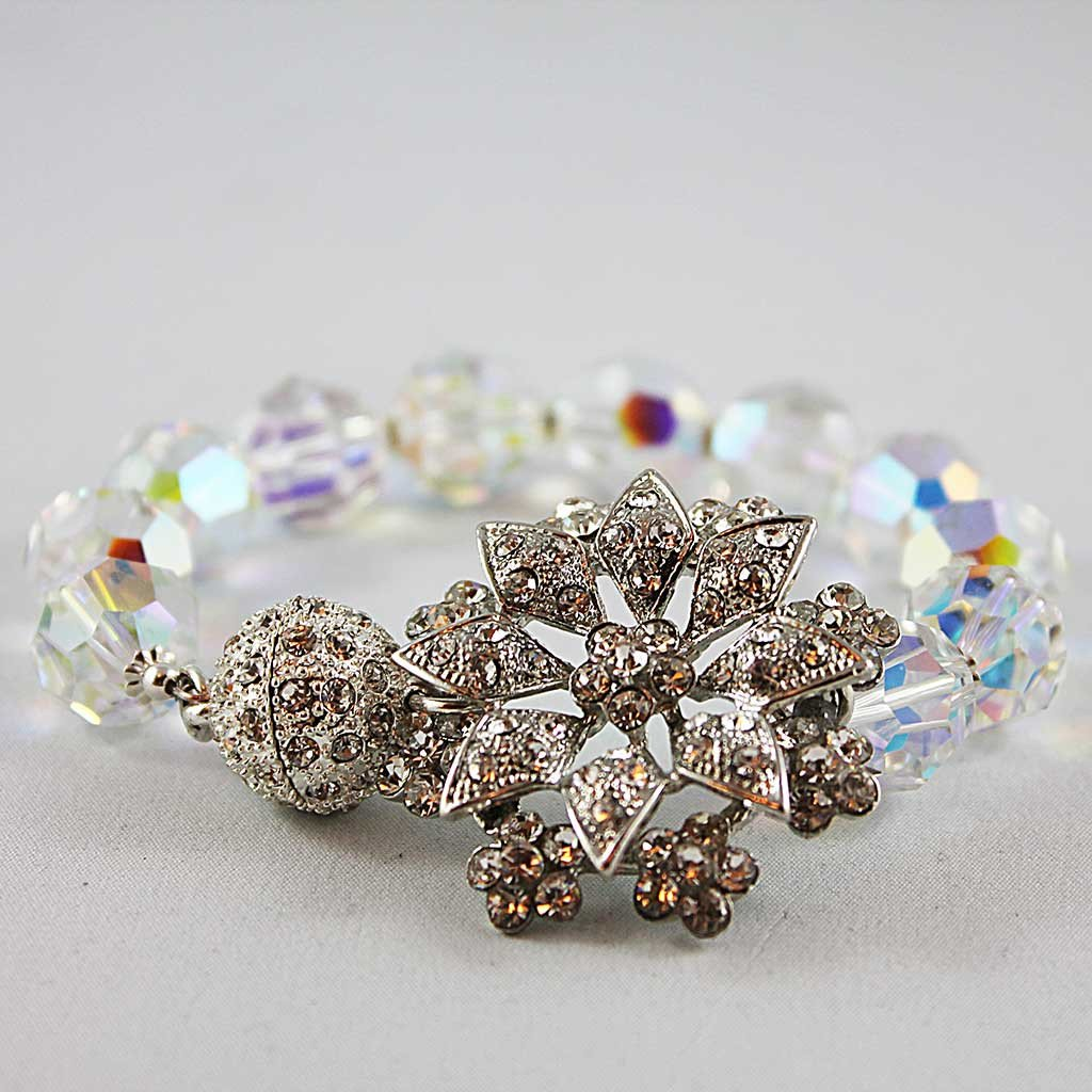 Swarovski Crystal Bridal Bangle Bracelet - Gothic Grace