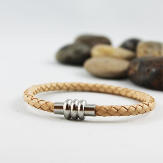 Natural Tan Bolo Leather Braided Bracelet - Gothic Grace