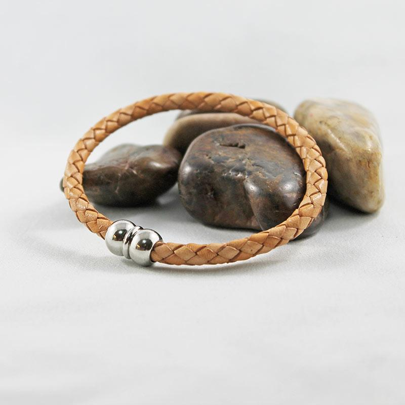 Tan Leather Silver Magnetic Casual Bracelet - Gothic Grace