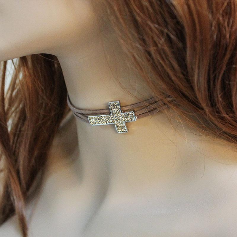 Brown Suede Sparkly Cross Choker - Gothic Grace