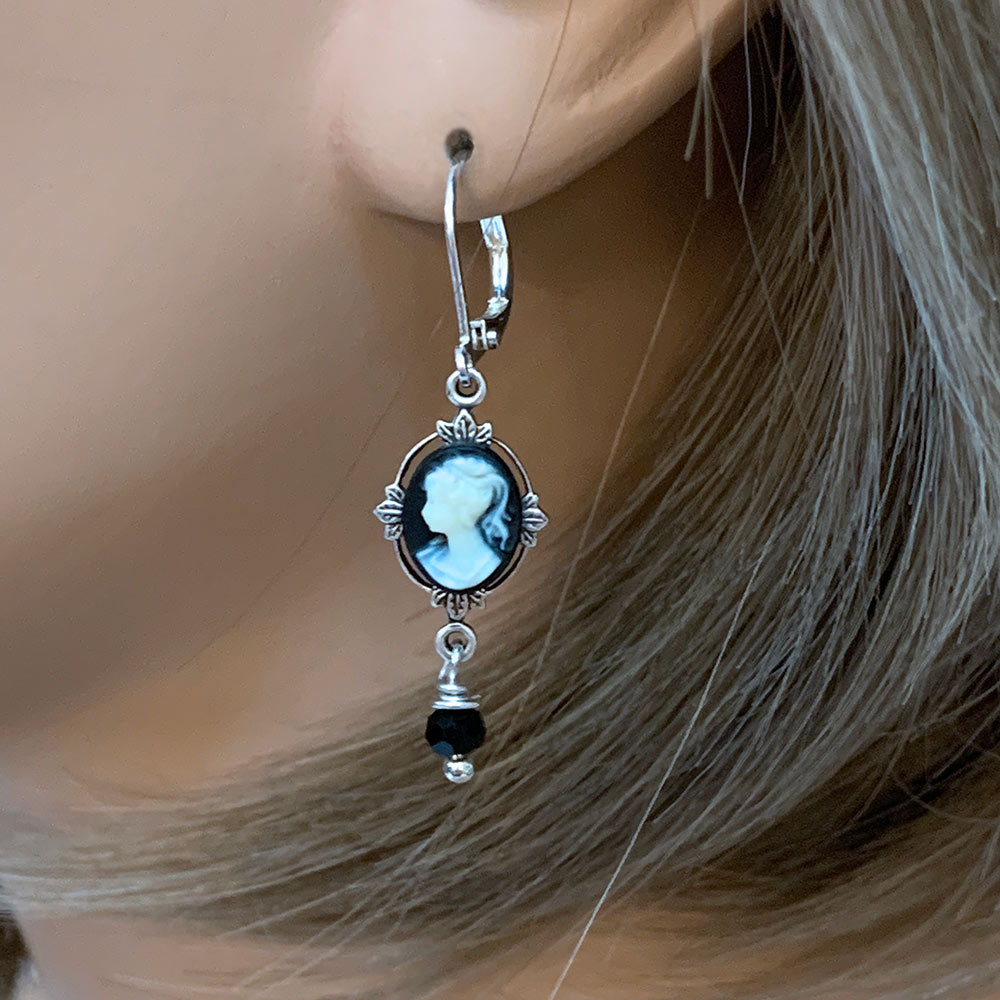 Victorian Black Cameo Dangle Earrings | Gothic Grace
