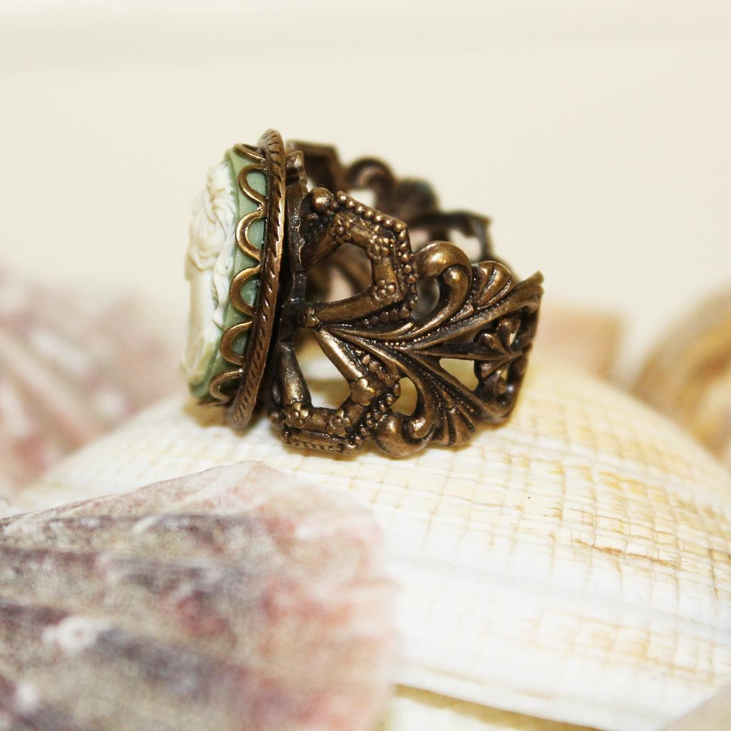 Green Cameo Brass Victorian Ring - Gothic Grace