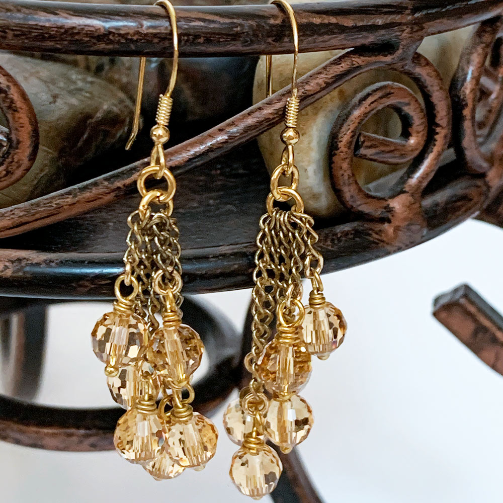 Victorian Gold Crystal Earrings | Gothic Grace