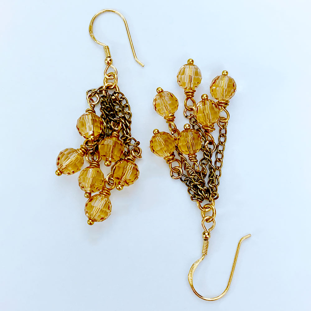 Victorian Gold Crystal Cluster Earrings | Gothic Grace