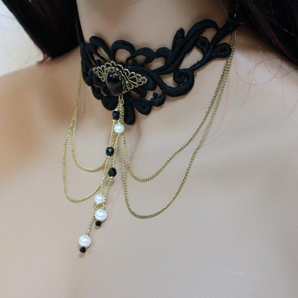 Black Lace Victorian Goth Choker Necklace - Gothic Grace