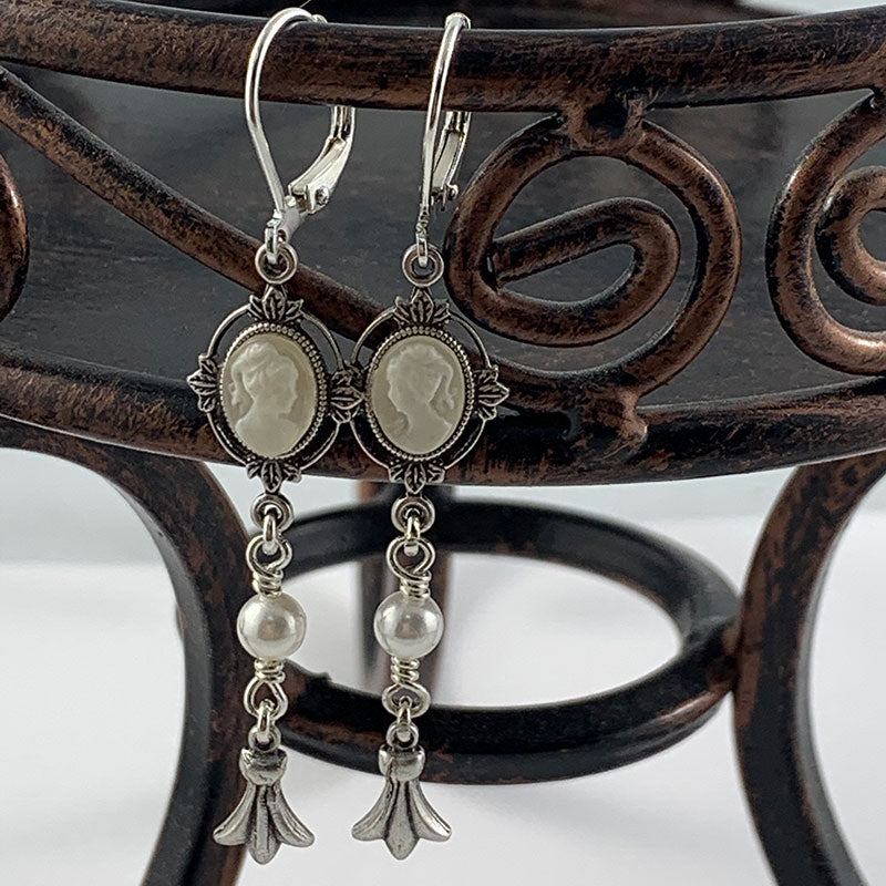 Victorian Ivory Cameo Earrings | Gothic Grace