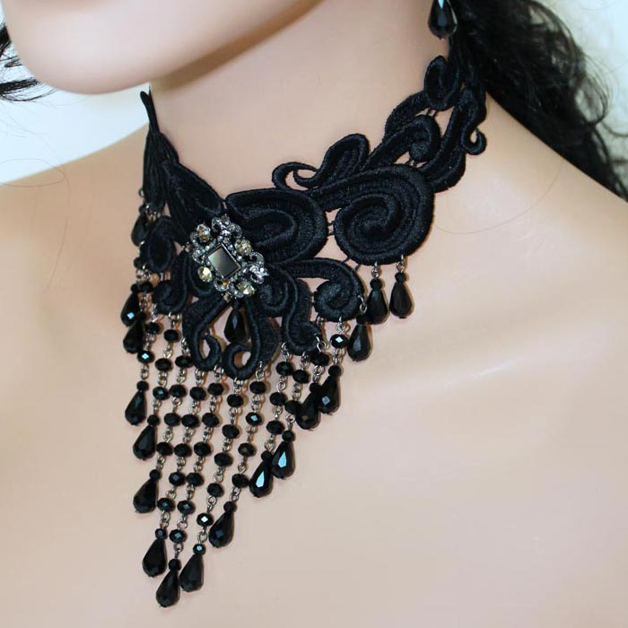 Black Lace Victorian Choker Necklace - Gothic Grace