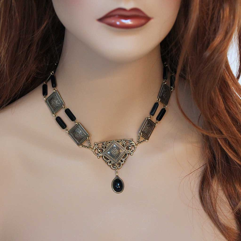 Black Onyx Victorian Necklace - Gothic Grace