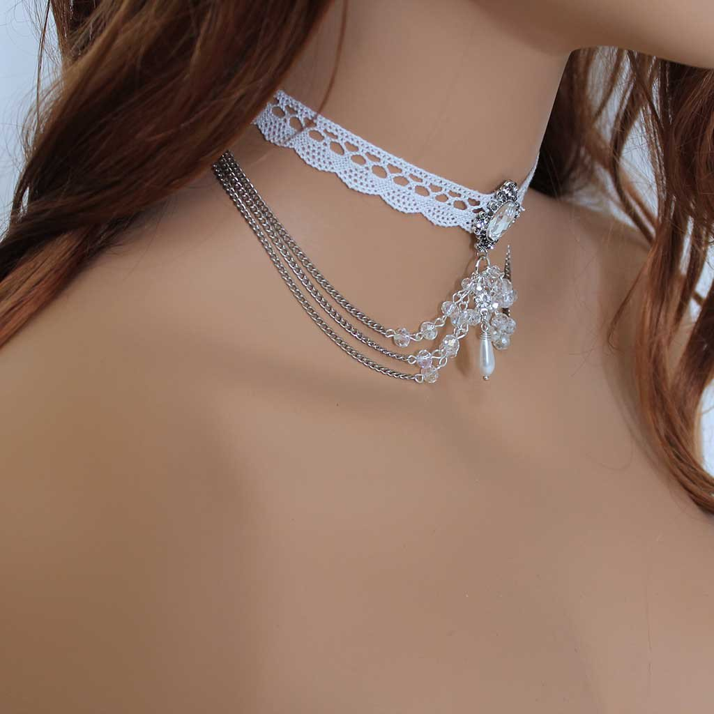 White Lace Beaded Victorian Bridal Choker Necklace - Gothic Grace