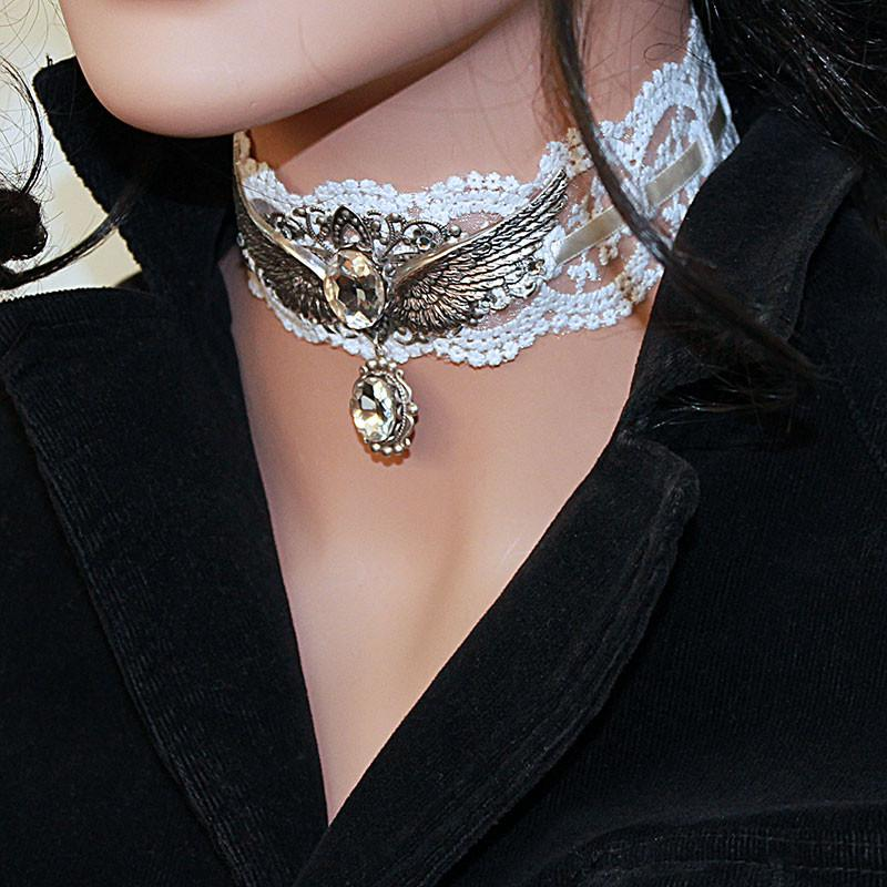 White Lace Fantasy Wing Choker Necklace - Gothic Grace