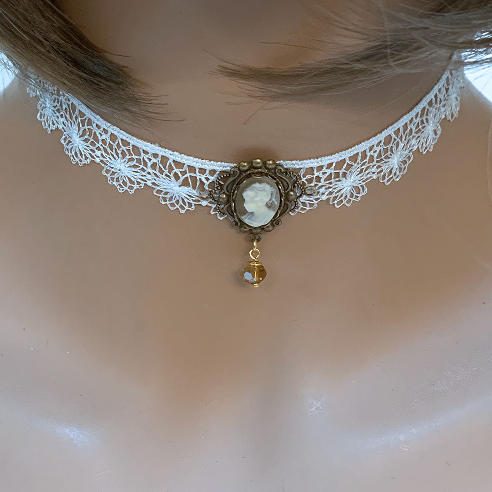 White Lace Victorian Cameo Choker - Gothic Grace