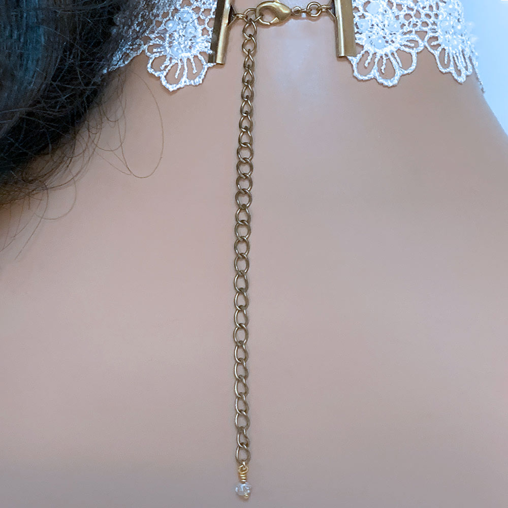 Back of White Lace Victorian Choker | Gothic Grace
