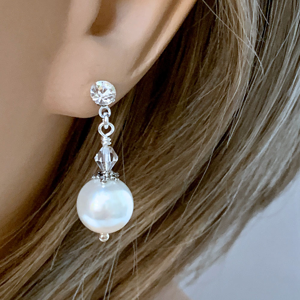 White Pearl and Crystal Victorian Post Drop Earrings | Gothic Grace