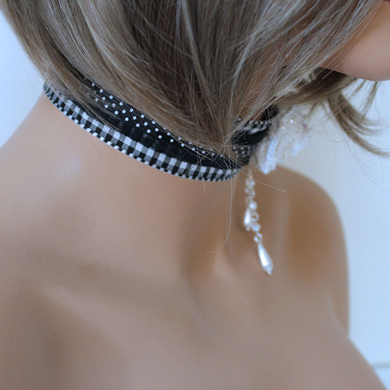 White Rose Black Victorian Choker - Gothic Grace
