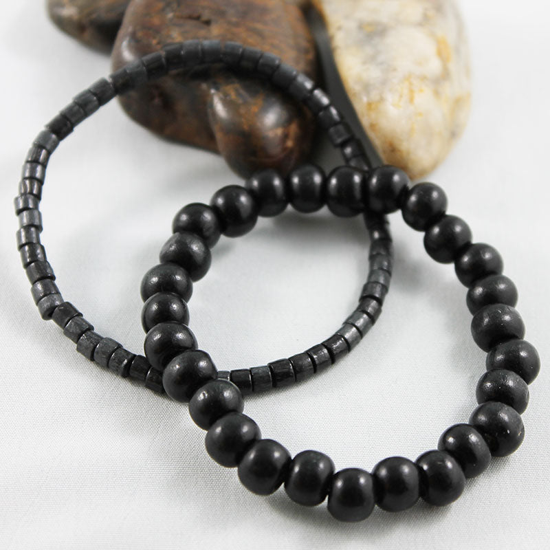 Black Wooden Bead Stretch Bracelet - Gothic Grace