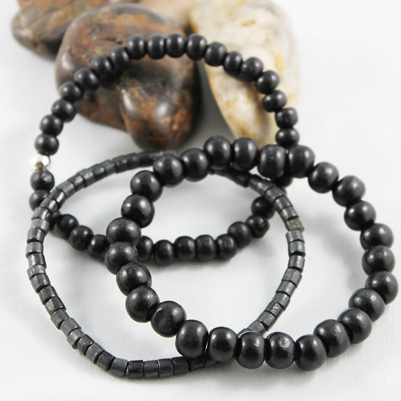 Black Wood Small Bead Stretch Bracelet - Gothic Grace