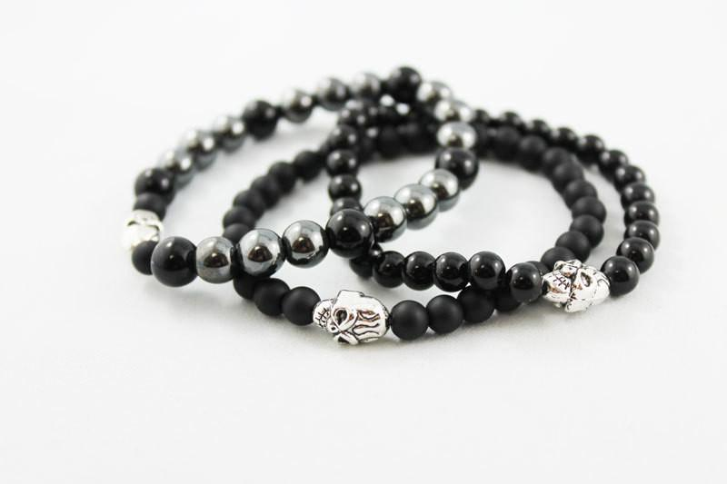 Onyx Hematite Bead Stretch Stacking Skull Bracelet - Gothic Grace