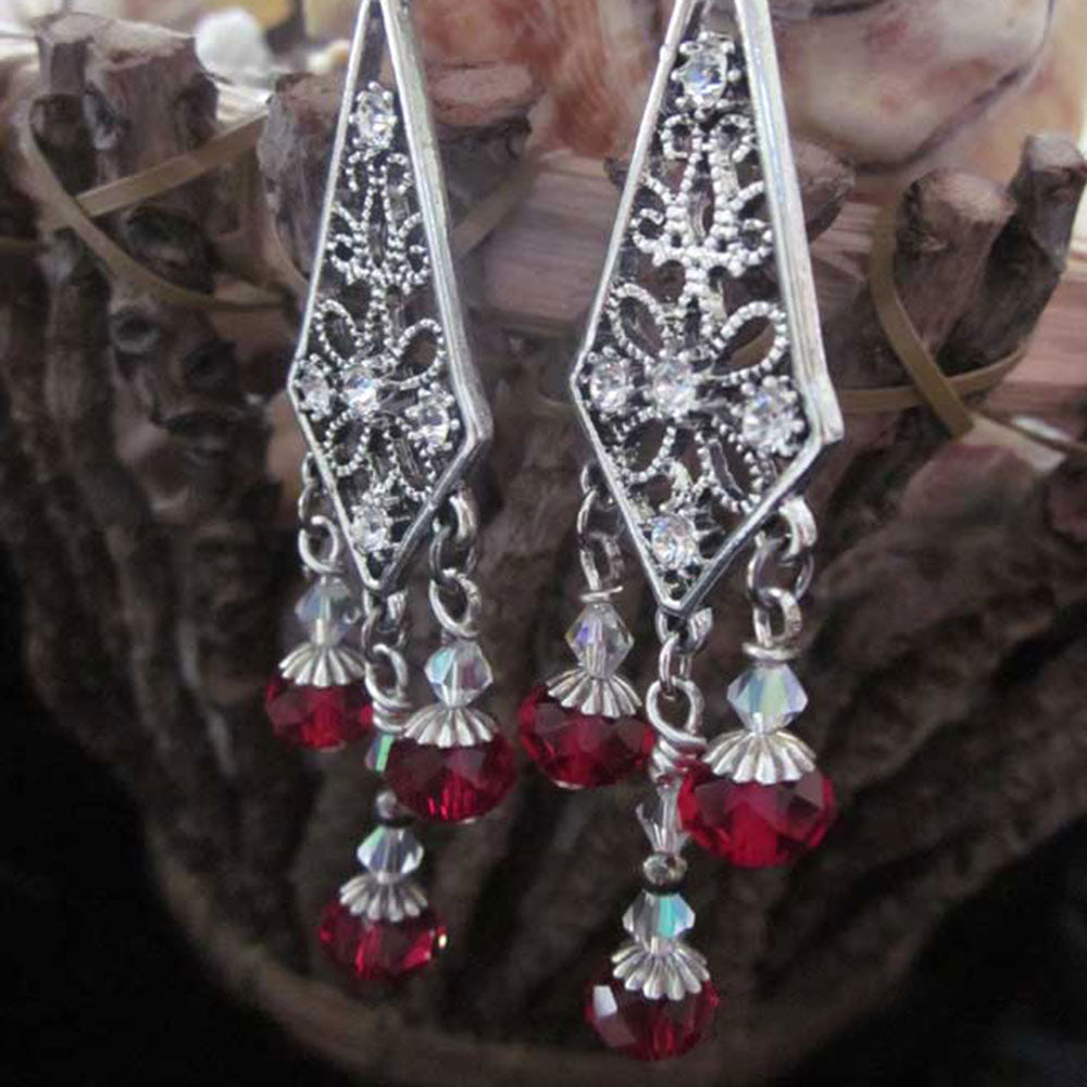 Elegant Long Red Chandelier Earrings - Gothic Grace